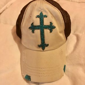 Teal Crystal Cross Baseball hat adjustable back